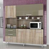 Cozinha Completa Lory 5 Portas Teka e Brown Aramóveis