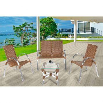 Conjunto Driely com 02 cadeiras 01 namoradeira e 01 mesa Art Ferro Conjunto Driely