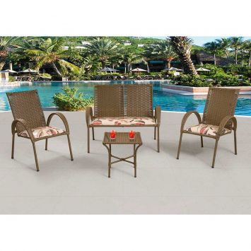 Conjunto Giovana 02 cadeiras 01 namoradeira e 01 mesa Art Ferro Conjunto Giovana