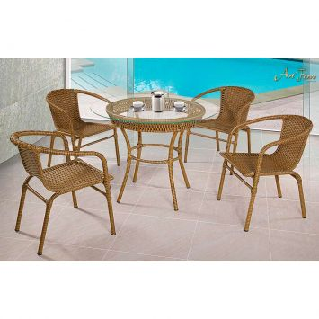 Conjunto Tamiris com 04 cadeiras e 01 mesa Art Ferro Conjunto Tamiris