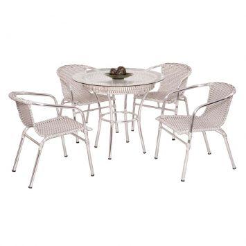 Conjunto com 4 cadeiras e Mesa Danubia Art Ferro Conjunto Danubia