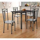 Conjunto de Mesa 4 Cadeiras Atlanta e Madri Craquelado & Cinza