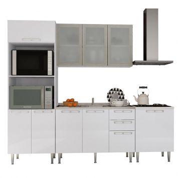 Cozinha Completa 15 Mia Coccina Branca P3 Art in Móveis COZINHA 15 BR