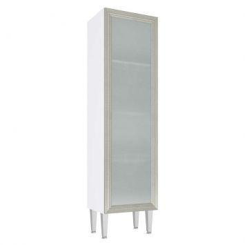 Cristaleira 1 Porta Vidro Mia Coccina 40X149 Branco Com Nude Art in Móveis CZ706 BR - ND