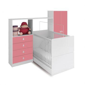 Guarda - Roupa Infantil e Cômoda Quarto Compacto 2PT 4GV Meu Fofinho Rosa Art in Móveis RP5040 RS