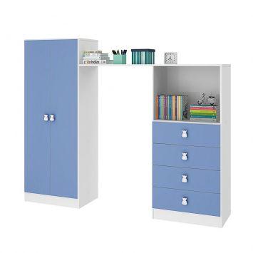 Guarda - Roupa Infantil e Cômoda Quarto Compacto Meu Fofinho Azul Art In Móveis Art in Móveis RP5040 AZ