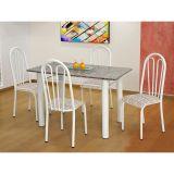 Conjunto Carla 022 Granito 4 Cadeiras Branca Rattan