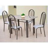 Conjunto Carla 022 Granito 4 Cadeiras Craqueado Preto Capitone