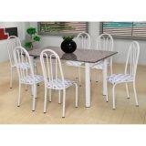 Conjunto Carla 022 Granito 6 Cadeiras Branca Capitone