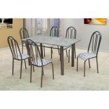 Conjunto Carla 022 Granito 6 Cadeiras Craqueado Preto Capitone