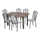 Conjunto Helen 028 Toscana 6 Cadeiras Craqueado Preto Iguatemi Branco