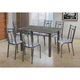 Conjunto Julia 023 Granito 6 Cadeiras Craqueado Preto Iguatemi Branco