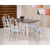 Conjunto Luana 021 Granito 6 Cadeiras Branca Capitone
