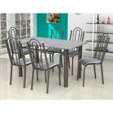 Conjunto Luiza 026 Granito 6 Cadeiras Craqueado Preto Listrado