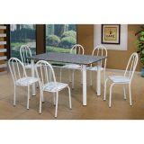 Conjunto Sara 005 Granito 6 Cadeiras Branca Linho