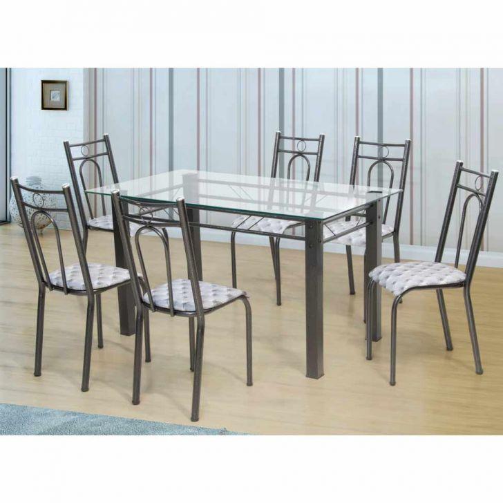Conjunto De Mesa Com 6 Cadeiras Julia Craqueado Preto Desconto De R