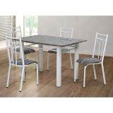 Conjunto de Mesa e 4 Cadeiras Julia Branco & Listrado Bco & Pto Artefamol
