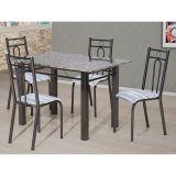 Conjunto de Mesa e 4 Cadeiras Julia Craqueado Preto & Linho Artefamol