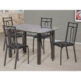 Conjunto de Mesa e 4 Cadeiras Julia Craqueado Preto & Preto Flor Artefamol