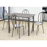 Conjunto de Mesa e 4 Cadeiras Monique Craquado Preto & Linho