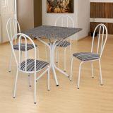 Conjunto de Mesa e 4 Cadeiras Thais Branco, Listrado Branco & Preto