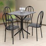 Conjunto de Mesa e 4 Cadeiras Thais Craqueado Preto, Listrado Branco & Preto