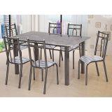 Conjunto de Mesa e 6 Cadeiras Julia Craqueado Preto & Linho Artefamol