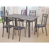 Conjunto de Mesa e 6 Cadeiras Julia Craqueado Preto & Preto Flor Artefamol