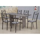 Conjunto de Mesa e 6 Cadeiras Pietra Craqueado Preto & Listrado Branco & Preto