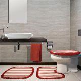 Jogo para Banheiro Bijou com 3 Peças Vermelho