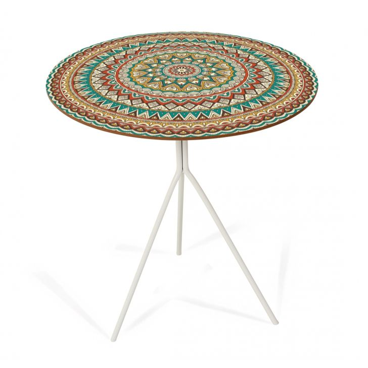 Mesa Lateral Melissa Digital (40x53h) Pé Bco/Mandala DESCONTO DE R$: 200,00 (39,81% OFF) - OFERTA MOBLY