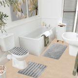 Jogo de Banheiro Samara 3D 3 Peças Cinza Asiatex