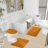 Jogo de Tapetes Samara 3D para Banheiro com 3 Peças Caramelo