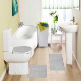 Jogo de Tapetes Samara Croc para Banheiro com 3 Peças Cinza