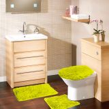Kit Tapete De Banheiro 3 Peças Samara Shaggy  Verde Asiatex