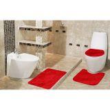 Kit Tapete De Banheiro 3 Peças Samara Soft  Vermelho Asiatex