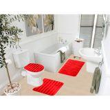 Kit Tapete De Banheiro Samara  3 Peças  Vermelho Asiatex