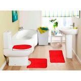 Kit Tapete De Banheiro Samara Croc  3 Peças Vermelho Asiatex