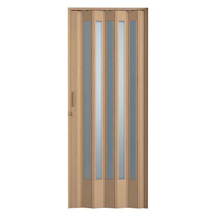Porta Sanfonada Translucida Com Trinco Bege 096X210