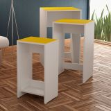 Conjunto De Mesas De Apoio Bm 31-117 Branco E Amarelo Brv Móveis