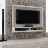Painel para TV BR 420-06 Branco com 2 Prateleiras BRV Móveis