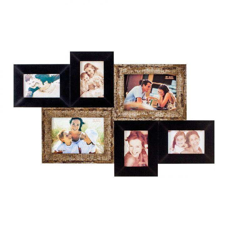 Porta-Retrato 2 Fotos 15X21 cm e 4 Fotos 10X15 cm FM72 2275 BW Quadros