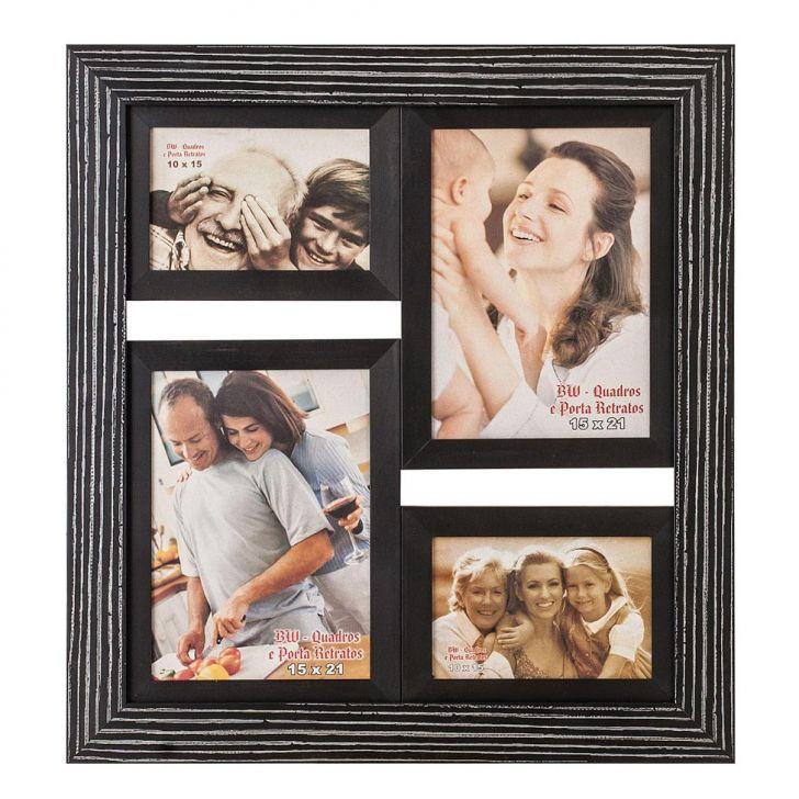 Porta-Retrato para 2 Fotos 15X21 cm e 2 Fotos 10X15 cm FM28 1170 BW Quadros