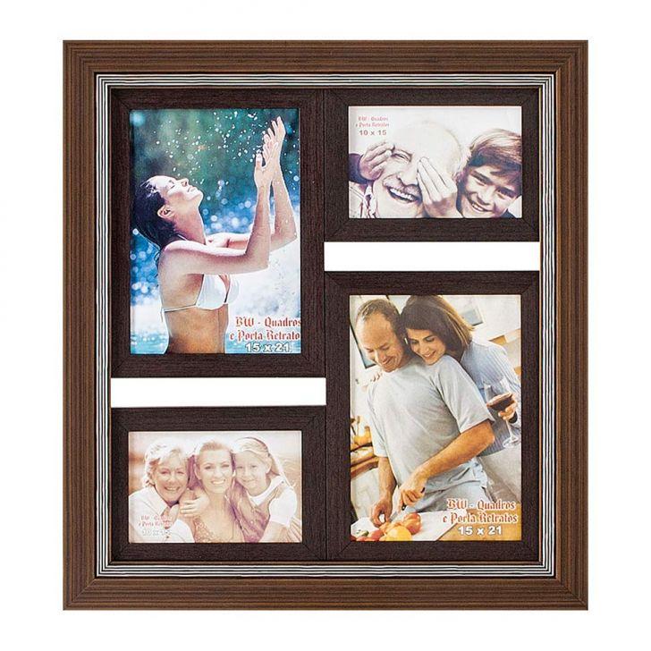 Porta-Retrato para 2 Fotos 15X21 cm e 2 Fotos 10X15 cm FM28 1230 BW Quadros