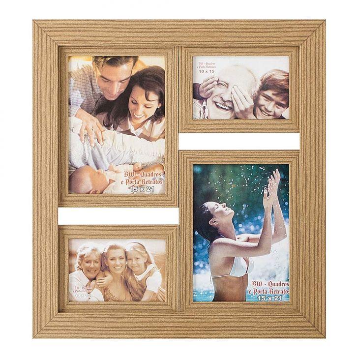 Porta-Retrato para 2 Fotos 15X21 cm e 2 Fotos 10X15 cm FM28 2265 BW Quadros