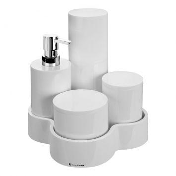 Conjunto de Bancada com 5 Peças Tube 2 Resina Branco BanhoMais BanhoMais Tube 2