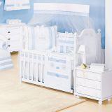 Kit Berço Imperial Azul 9 Peças com Mosquiteiro - Batistela Baby