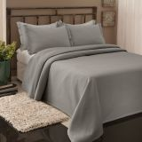 Colcha de Piquet Queen 240x260 Cinza Beca Decor