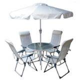 Conjunto Mônaco Alumínio com 1 Mesa e 4 Cadeiras para jardim Branco