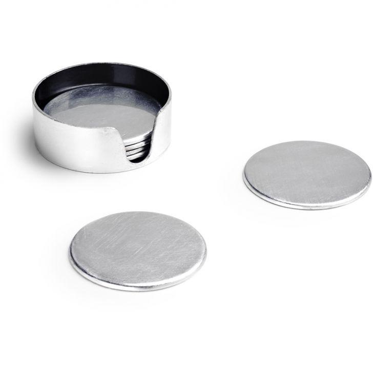 Conjunto 6 Porta Copos Com suporte Prata